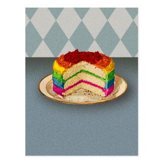 Retro Rainbow Cake Postcard