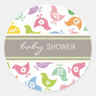 Retro Rainbow Chicks Baby Shower Label / Sticker