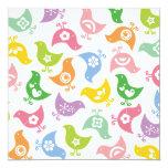 Retro Rainbow Chicks Baby Shower Party Invitation Invite