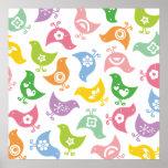 Retro Rainbow Chicks Color Fun Custom Poster