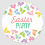 Retro Rainbow Chicks Easter Party Favors Gift Tag Sticker