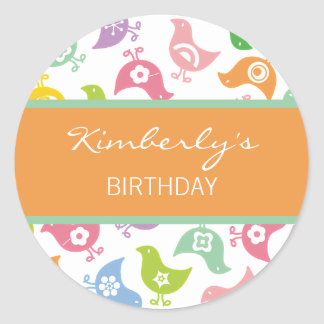 Retro Rainbow Chicks Fun Favor Gift Label /Sticker Classic Round Sticker