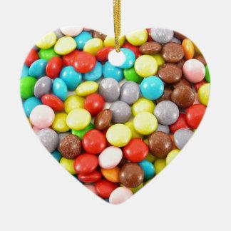retro rainbow chocolate sweets design ceramic ornament