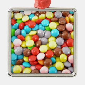 retro rainbow chocolate sweets design metal ornament