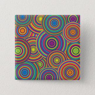 Retro Rainbow Circles Pattern Button