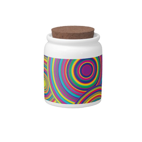 Retro Rainbow Circles Pattern Candy Jars