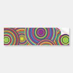 Retro Rainbow Circles Pattern Car Bumper Sticker