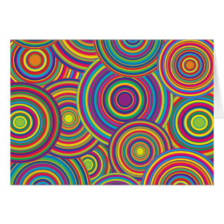 Retro Rainbow Circles Pattern Card