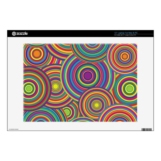 "Retro Rainbow Circles Pattern Decals For 13"" Laptops"