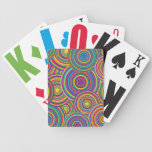 Retro Rainbow Circles Pattern Deck Of Cards