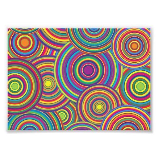 Retro Rainbow Circles Pattern Photo Print
