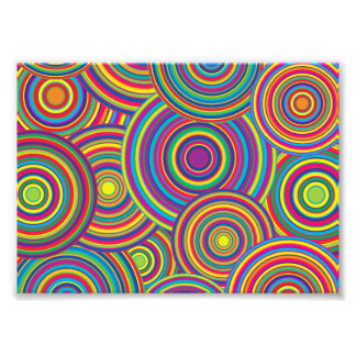 Retro Rainbow Circles Pattern Art Photo