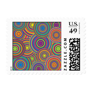 Retro Rainbow Circles Pattern Postage