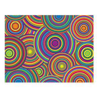 Retro Rainbow Circles Pattern Postcard