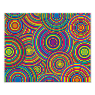Retro Rainbow Circles Pattern Poster