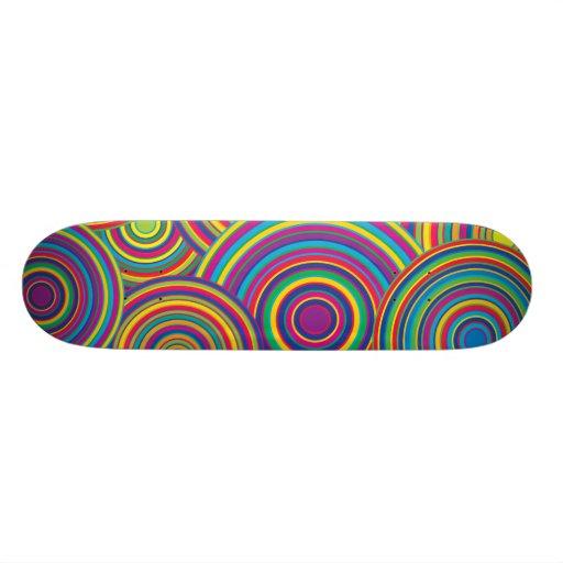 Retro Rainbow Circles Pattern Skateboard Deck