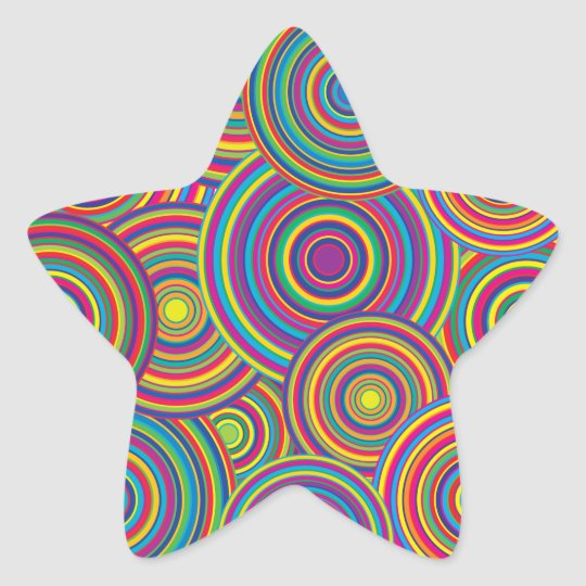 Retro Rainbow Circles Pattern Star Sticker