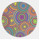 Retro Rainbow Circles Pattern Classic Round Sticker
