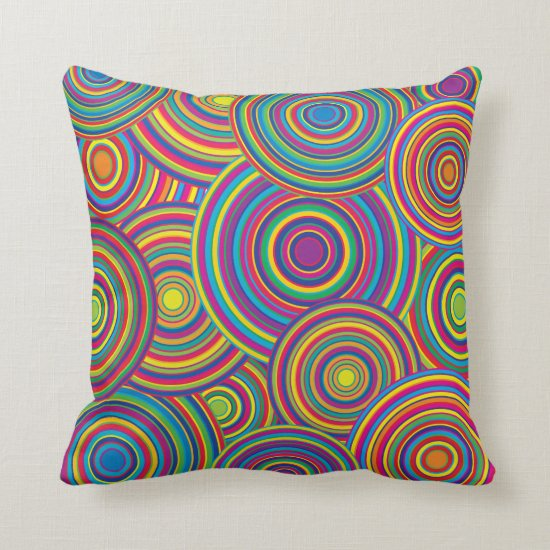 Retro Rainbow Circles Pattern Throw Pillow