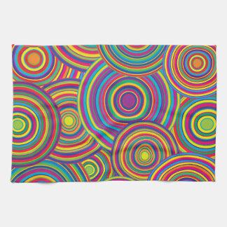Retro Rainbow Circles Pattern Towels