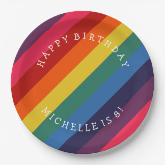 Retro Rainbow Custom Paper Plate with Your Text