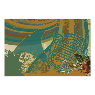 Retro Rainbow French Horn Poster