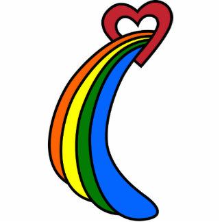 Retro Rainbow Heart Refrigerator Magnet Photo Sculptures