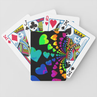 Retro rainbow hearts on black bicycle playing cards