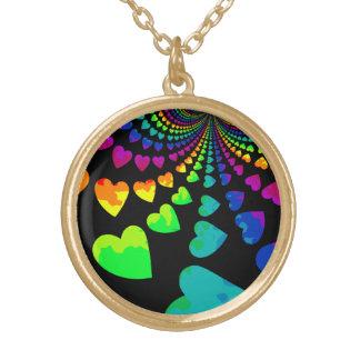 Retro rainbow hearts on black gold tone jewelry