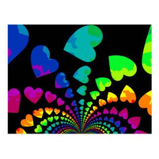Retro rainbow hearts on black postcard