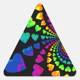 Retro rainbow hearts on black triangle sticker