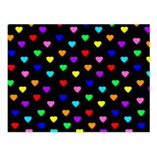 Retro Rainbow Hearts Print - Black Postcard