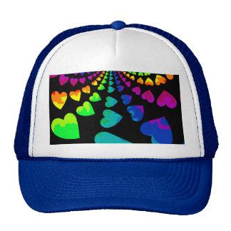 Retro rainbow hearts trucker hat