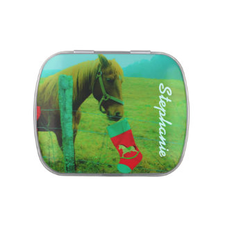 Retro Rainbow Mistletoe Horse : add name Candy Tins