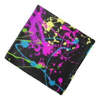 Retro Rainbow of Neon Paint Splatters on Black Bandana