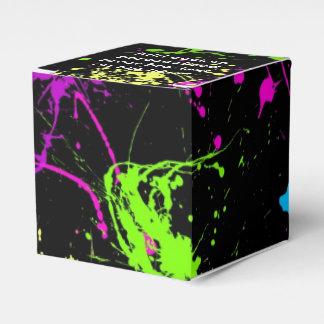 Retro Rainbow of Neon Paint Splatters on Black Favor Box