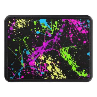 Retro Rainbow of Neon Paint Splatters on Black Hitch Cover