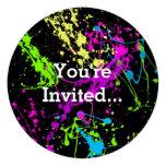 Retro Rainbow of Neon Paint Splatters on Black Invitation