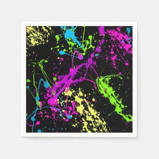 Retro Rainbow of Neon Paint Splatters on Black Paper Napkin