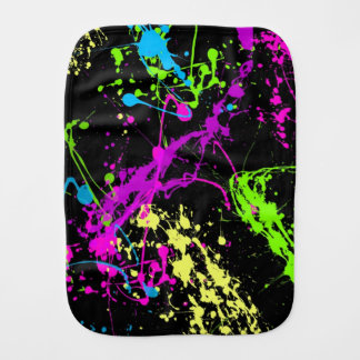 Retro Rainbow of Neon Paint Splatters on Black Burp Cloth