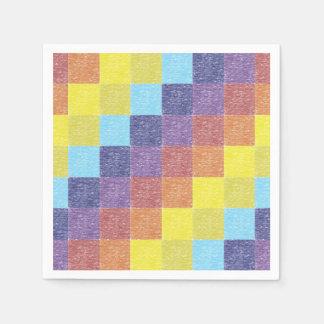 Retro Rainbow Patchwork Paper Napkins