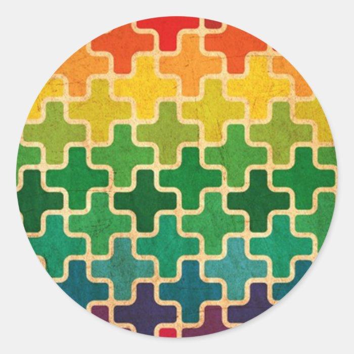 Retro Rainbow Pattern Classic Round Sticker