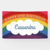 Retro Rainbow Personalized Name Happy Birthday Banner