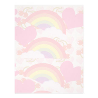 Retro Rainbow Pink Stationary Letterhead