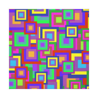 Retro Rainbow Squares Pattern Canvas Print