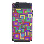 Retro Rainbow Squares Pattern Cases For iPhone 4