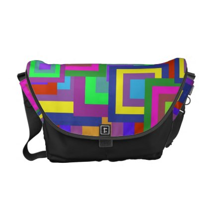 Retro Rainbow Squares Pattern Courier Bags
