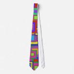 Retro Rainbow Squares Pattern Custom Ties