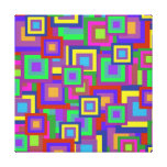 Retro Rainbow Squares Pattern Gallery Wrap Canvas