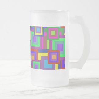 Retro Rainbow Squares Pattern Coffee Mugs